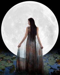 Water fairy walking into the moon